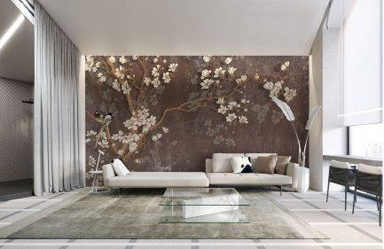 taupe wallpaper, floral mural, tropical wallpaper, bedroom wallpaper,