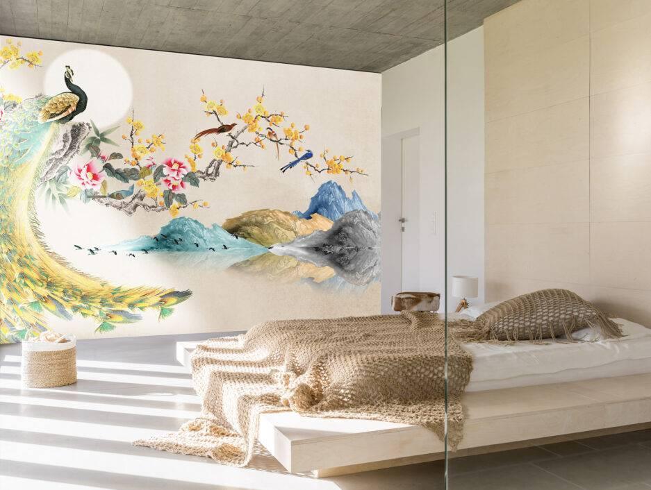 gold wallpaper, peacock mural, beige wallpaper, metallic gold wallpaper, trendy wallpaper