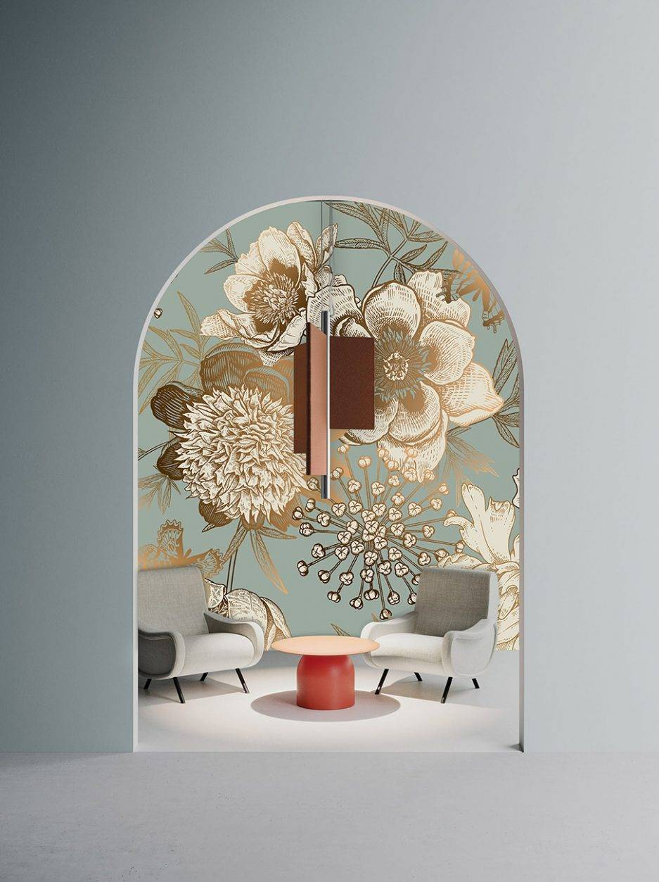 blue wallpaper, teal wallpaper, lobby wallpaper, floral wallpaper, botanical wallpaper