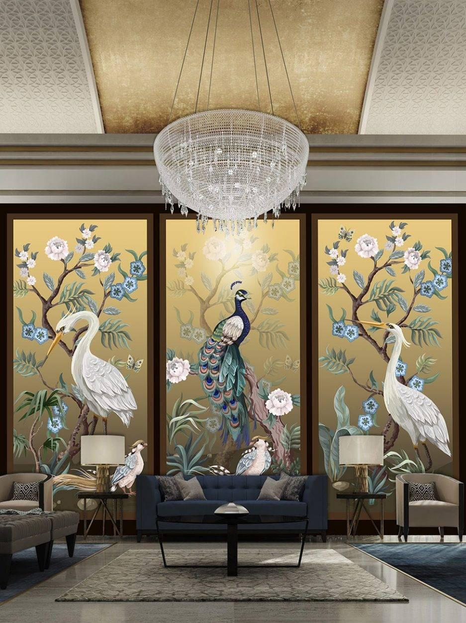 yellow wallpaper, peacock wallpaper, animal wallpaper, tropcial wallpaper, bedroom wallpaper