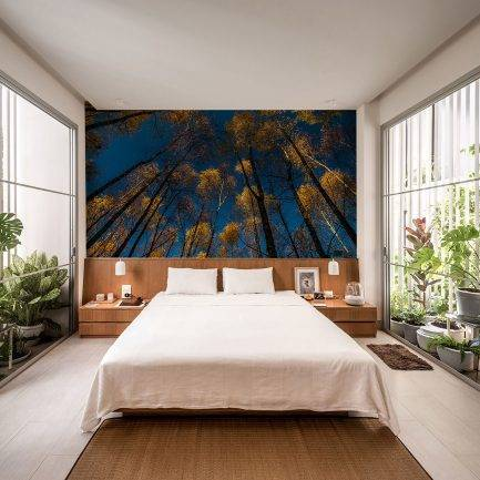 blue wallpaper, gold wallpaper, bedroom wallpaper, living room wallpaper, custom wallpaper, designer wallpaper, mural wallpaper, mural wallpaper in UAE, office wallpaper, hotel wallpaper
