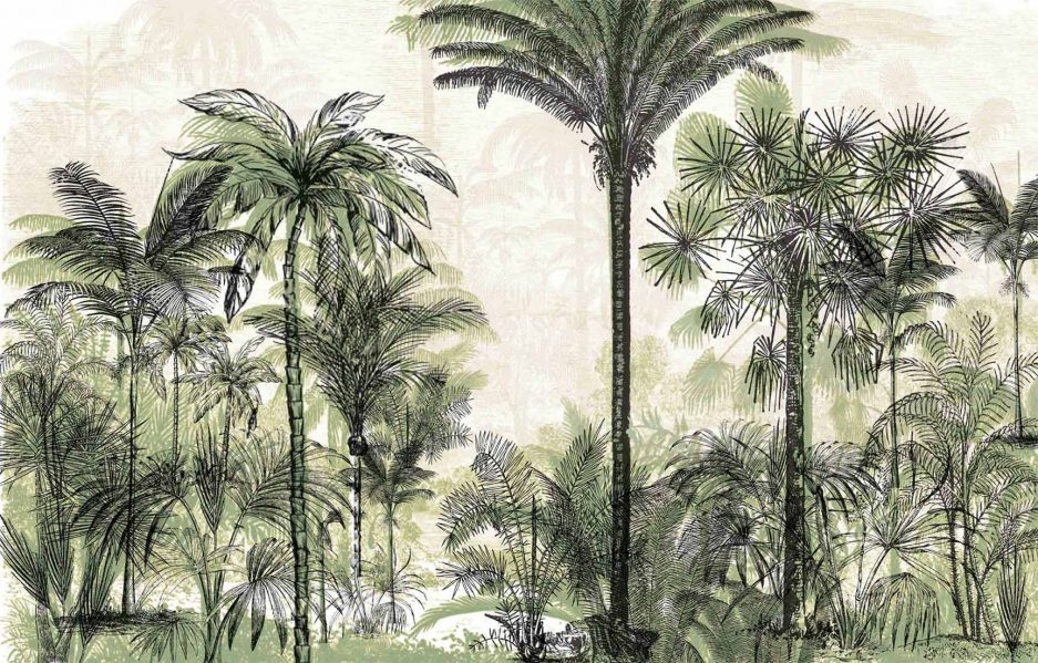 black mural, green mural, nature inspired wallpaper, botanical mural, tropical wallpaper