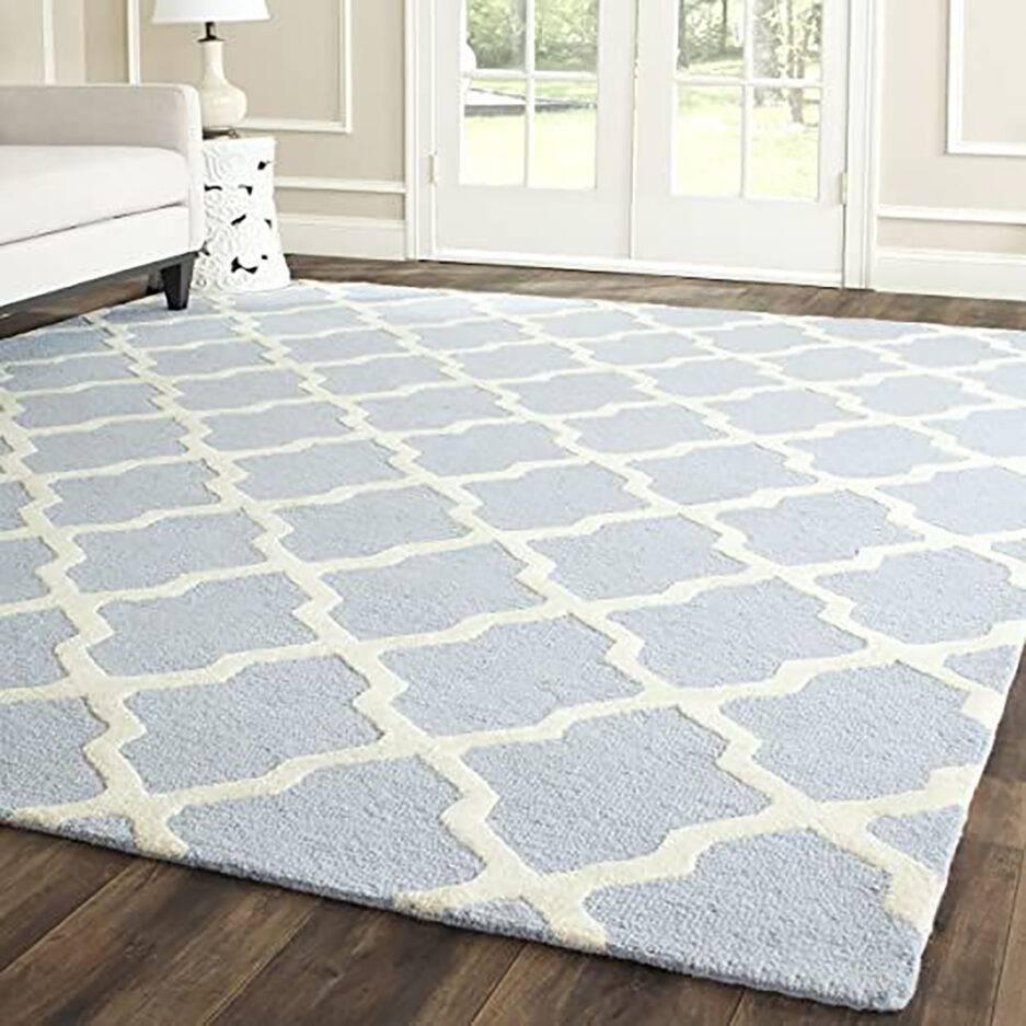 light blue carpet, geometric rugs, contemporary interior, elegant carpet