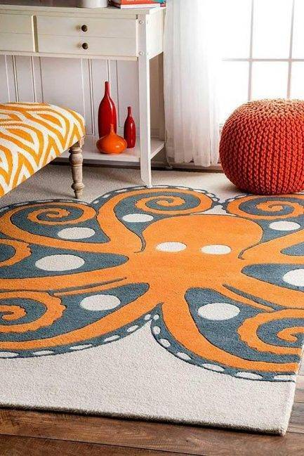 orange carpet, funky carpet, bold carpet design