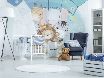 animal wallpaper, kids mural, kids bedroom décor, children school interior design,