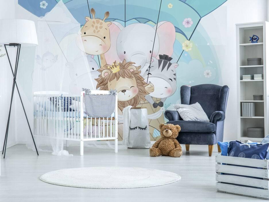 animal wallpaper, kids mural, kids bedroom décor, children school interior design,