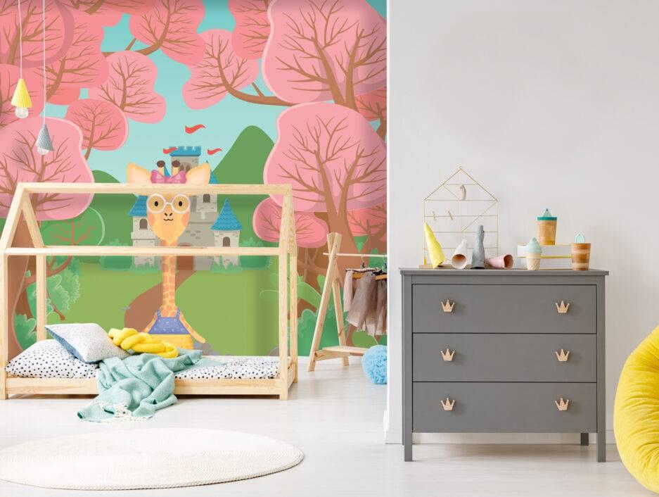nature inspired mural, pink wallpaper, bedroom wallpaper, girl room interior,