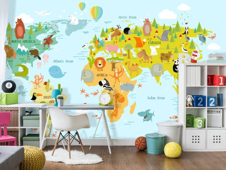 animal wallpaper pattern, multi colore wallpaper, colorful mural, nursery interior, kids room interior